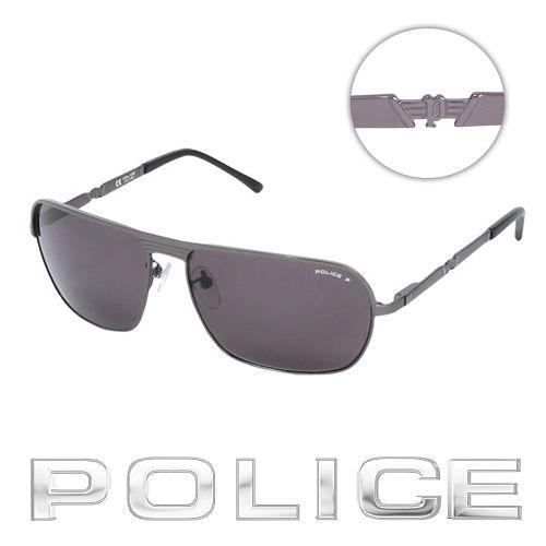 POLICE 都會 偏光飛行員太陽眼鏡  銀灰色  POS8745~584P