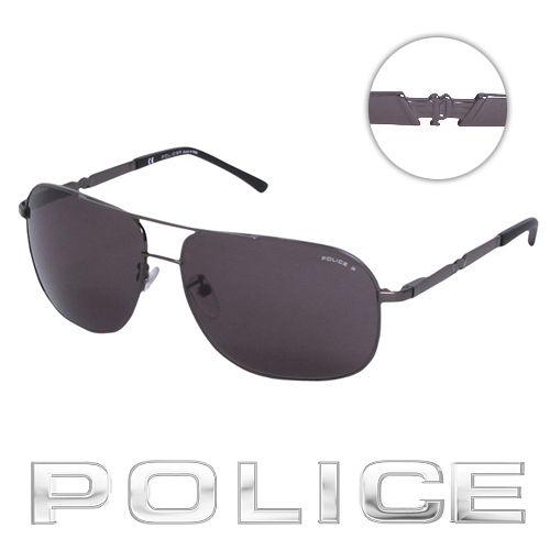 POLICE 都會 偏光飛行員太陽眼鏡  銀黑色  POS8747~584P