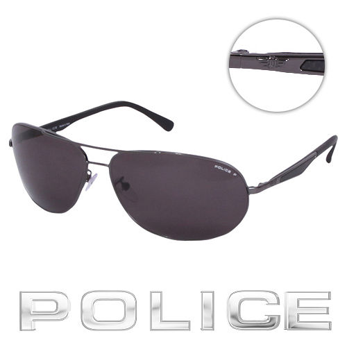 POLICE 都會 偏光飛行員太陽眼鏡  銀黑色  POS8757~568P