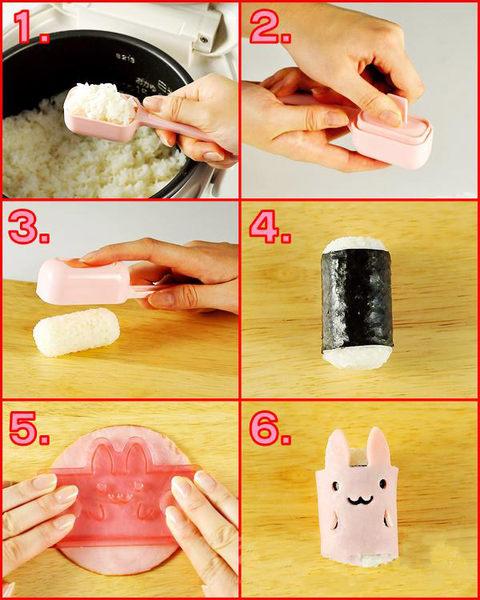 日本diy便当创意 小动物卷卷饭团模具