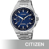 【CITIZEN 星辰】GENTS 限量 光動能電波腕錶-銀x藍/42mm(CB0160-51L)