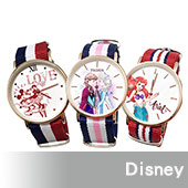 【迪士尼】冰雪艾莎安娜公主超薄玫瑰金錶