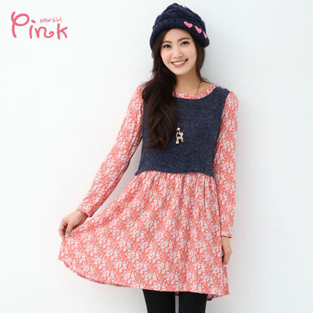 【Pink】假兩件碎花洋裝