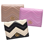 GUCCI GG Marmont 系列絎縫紋牛皮金屬雙G LOGO暗釦卡夾/零錢包