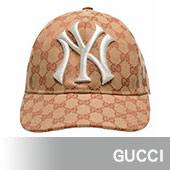 GUCCI 洋基聯名款經典GG LOGO帆布棒球帽(粉)