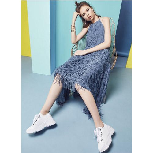 Keeley Ann經典美型~緞面綁帶全真皮老爹鞋(白色876777740-Ann系列)