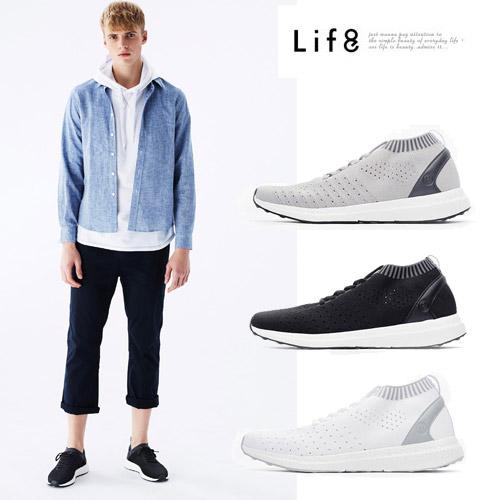 【Life8】Casual 簡約百搭 高彈透氣飛織休閒鞋-黑色/白色-09890