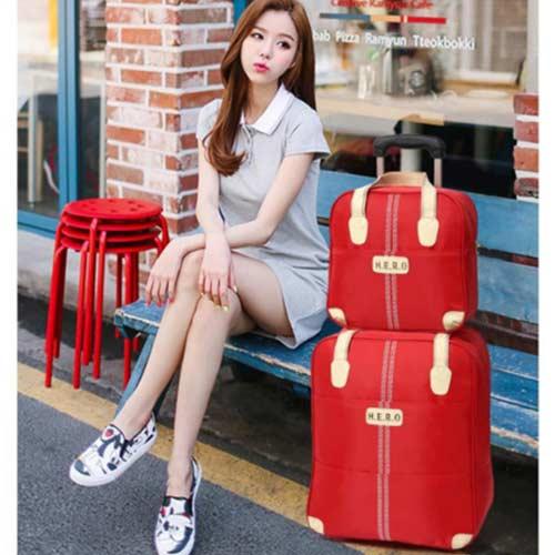 HENDOZ 熱銷旅行拉桿袋二件組(紅色)0020