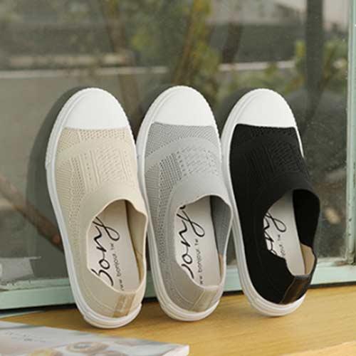 BONJOUR☆+3cm針織襪套懶人厚底休閒鞋Sock shoes【ZB0331】灰