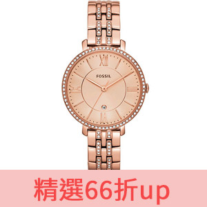 FOSSIL 羅馬風尚仕女晶鑽薄型腕錶-玫塊金 ES3546