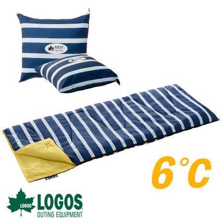 日本 LOGOS】ROSY 6℃丸洗藍白靠墊中空棉睡袋
