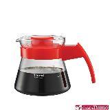 金時代書香咖啡 Tiamo 玻璃咖啡壺450cc 弧型把手 紅色 (HG2210R)
