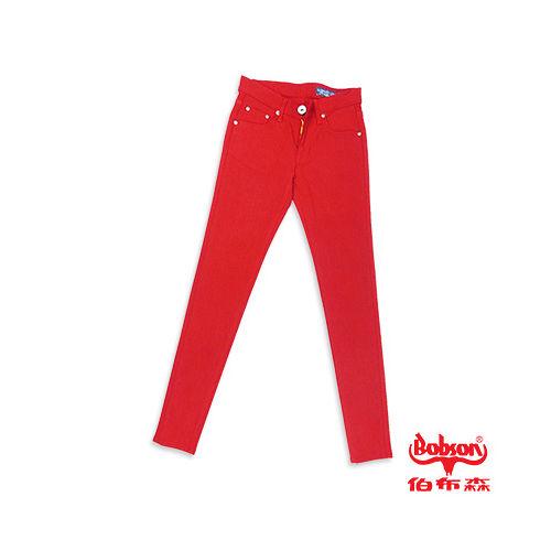 【BOBSON】女款彩色強彈力緊身褲(紅13)