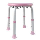 【舞動創意】輕量化鋁質可昇降浴室防滑洗澡椅-圓板凳(嫩粉紅)
