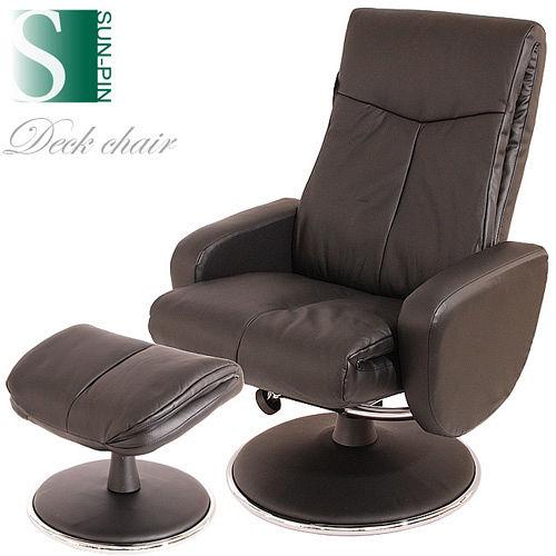 【Sun Pin】蒙巴頓侯爵半牛皮躺椅+腳凳-黑色