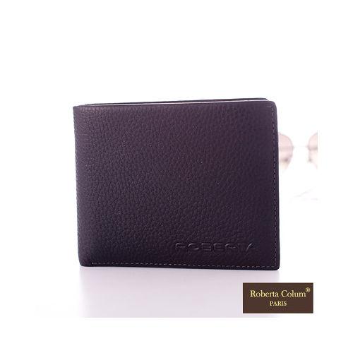 【Roberta Colum】法國荔枝紋軟牛皮可拆式上下翻卡片夾短夾-時尚黑