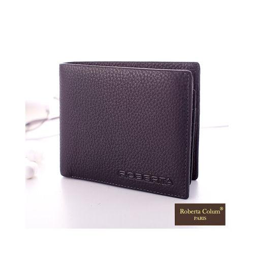 【Roberta Colum】法國荔枝紋軟牛皮可拆式左右翻卡片夾短夾- 時尚黑