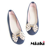 (現貨+預購)【Miaki】MIT 韓劇風圓點蝴蝶平底娃娃鞋包鞋 (藍色)
