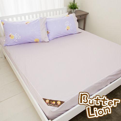 【奶油獅】素雅葉語系列-台灣製造-100%精梳純棉床包三件組(幻紫)-雙人5尺