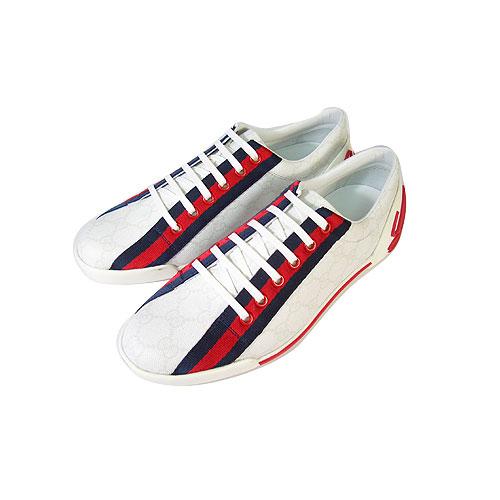 GUCCI 雙G浮水印防水休閒鞋(白)_38.5