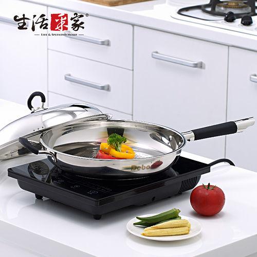 【生活采家】DEBO系列不鏽鋼30cm魚麟紋炒鍋(含鍋蓋)#17021