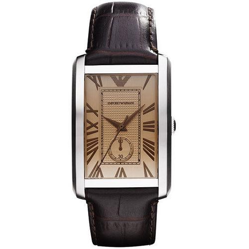 ARMANI 爵士 小秒針腕錶-香檳色 AR1605