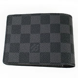 Louis Vuitton N62663 黑棋盤格MULTIPLE雙折簡約短夾(黑灰) 預購