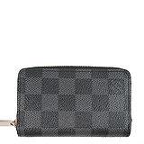 Louis Vuitton LV N63076 黑棋盤格紋信用卡拉鍊零錢包 預購