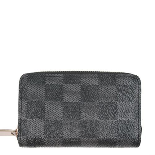 Louis Vuitton LV N63076 黑棋盤格紋信用卡拉鍊零錢包_預購