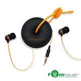 (福利品)Fonestuff FS6002 收線式耳道耳機(黑橘)
