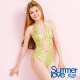 [夏之戀SUMMERLOVE]超性感圖騰連身三角泳衣E12734