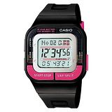 CASIO 輕巧亮麗慢跑用電子錶(黑.桃) SDB-100-1B
