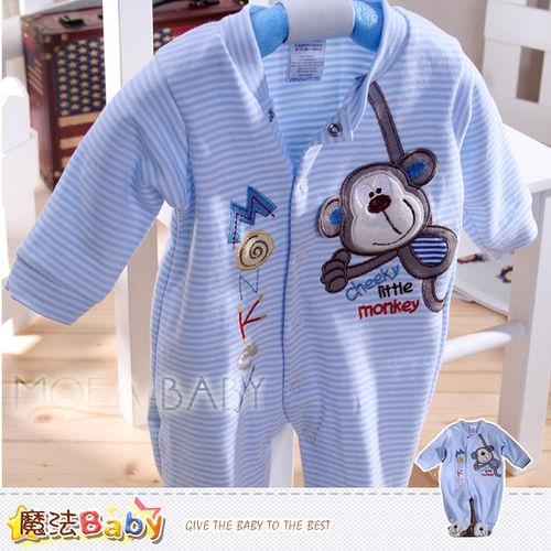 魔法Baby~法國設計俏皮猴雙面布包腳連身衣~k30006