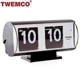 【TWEMCO】復古收藏 圓筒造型翻頁鐘\桌鐘 QT-30T 黑色