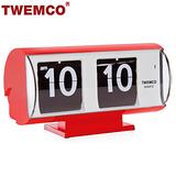 【TWEMCO】復古收藏 圓筒造型翻頁鐘\桌鐘 QT-30T 紅色
