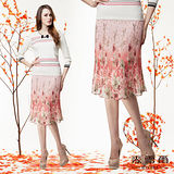 【麥雪爾】獨特漸層印花柔美雪紡五分短裙