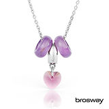 brosway Tres Jolie 施華洛世奇水鑽不鏽鋼項鍊 紫/愛心紫鑽