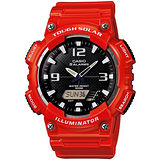 CASIO 型男個性太陽能雙顯錶(亮紅錶帶)AQ-S810WC-4A