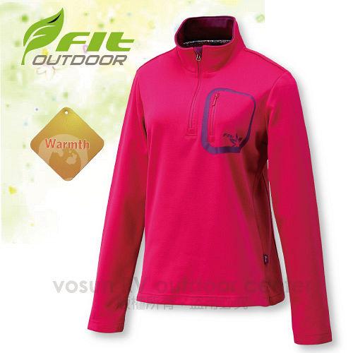 【FIT】女新款 內刷保暖上衣/內刷保暖系列.保暖.刷毛衣.觸感性佳.抗風.立領拉鍊設計/玫瑰紅 EW2102