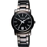 VOGUE 都會雅仕大三針腕錶-IP黑/白時標/38mm 9V0234DD