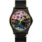 Marc Jacobs Holiday Henry 塗鴉藝術時尚腕錶-黑 MBM8621