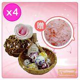 【Charmant】乳油木果香氛精油沐浴球4袋(贈喜馬拉雅玫瑰沐浴鹽)