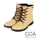 GOA復古彩釦帥氣短筒騎士雨靴-米色