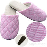 【MORINO】菱格紋室內拖鞋-粉紅色