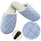 【MORINO】菱格紋室內拖鞋-粉藍色