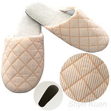 【MORINO】菱格紋室內拖鞋-粉橘色