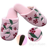 【MORINO】刷毛絨綉花室內拖鞋-粉紅色