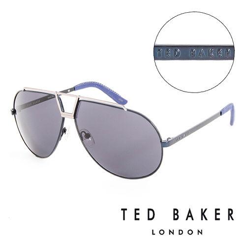TED BAKER 倫敦 復古時尚皮革鏡腳造型太陽眼鏡(藍) TB1238689