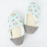 【MORINO】日式踩腳室內拼布拖鞋-粉藍色