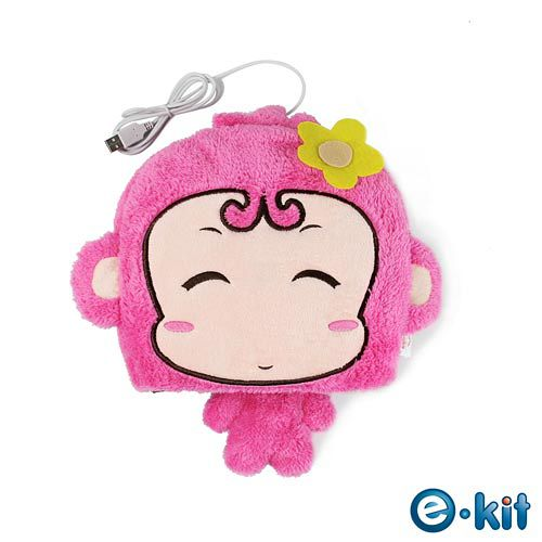逸奇e-Kit 冬天保暖用品 可愛小猴子 保暖滑鼠墊 可拆洗 UW-MS30-粉紅